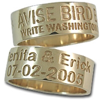 Duck Band Ring 14K Gold Name and Date