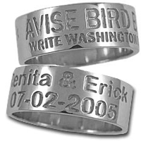 Duck Band Ring Sterling Silver Name and Date