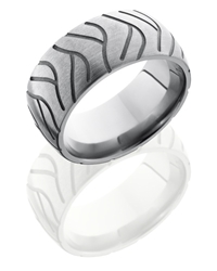 Titanium 10mm Domed Band with Tire Tread Pattern