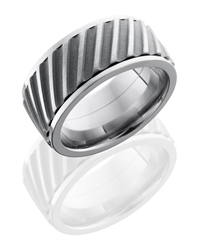 Titanium 10mm Flat, Spinner Band with Helical Pattern
