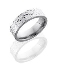Titanium 6mm Flat Band with Flower Pattern