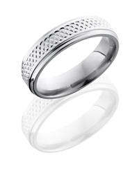 Titanium 6mm Flat Band with Grooved Edges and Weave Pattern