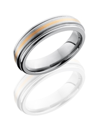 Titanium 6mm Flat Band with Rounded Edges, Milgrain, and 1mm 14KR