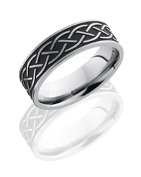 Titanium 7mm Flat Band with Antiqued Celtic Pattern