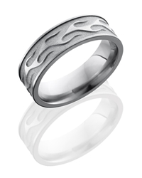 Titanium 7mm Flat Band with Flame Pattern