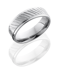 Titanium 7mm Flat Band with Grooved Edge