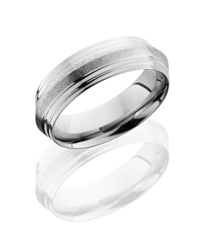 Titanium 7mm Peaked Band with Double Grooved Edges