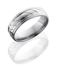 Titanium 7mm Domed Band with Rounded Edges and Striped Pattern