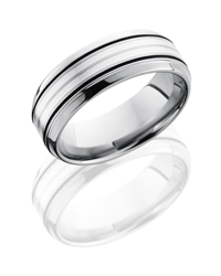 Titanium 8mm Beveled Band with 2mm SS