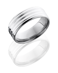 Titanium 8mm Beveled Band with Sterling Silver Inlay