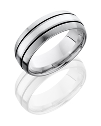 Titanium 8mm Domed Band with 2mm SS