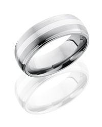 Titanium 8mm Domed Band with Grooved Edges and 2mm SS