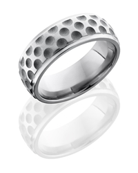 Titanium 8mm Domed Band with Grooved Edges and Dot Pattern