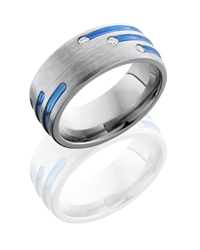 Titanium 8mm Domed Band with Blue Anodized Stripes and Flush Set White Round Diamonds