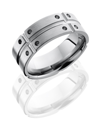Titanium 8mm Flat Band with Segmented Pattern