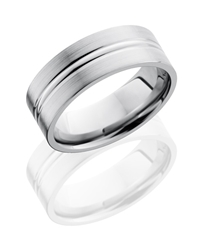 Titanium 8mm Flat Band with Domed Center