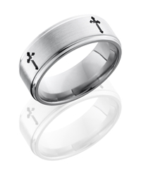 Titanium 8mm Flat Band with Grooved Edges and Cross Pattern