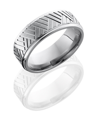 Titanium 8mm Flat Band with Grooved Edges and Basket Pattern