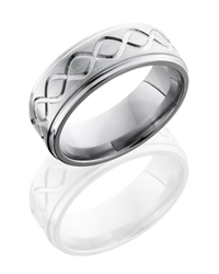 Titanium 8mm Flat Band with Grooved Edges and Infinity Pattern