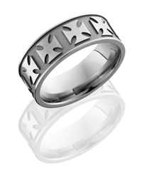 Titanium 8mm Flat Band with Maltese Cross Pattern