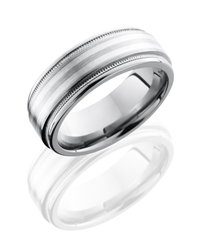Titanium 8mm Flat Band with Rounded Edges, Milgrain, and 2mm SS