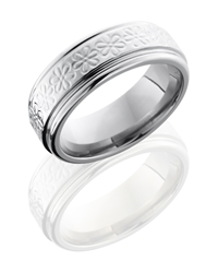 Titanium 8mm Flat Band with Rounded Edges and Flower Pattern