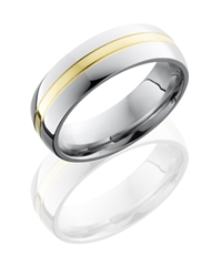 Cobalt Chrome 7mm Domed Band with 2mm 14KY