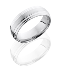 Cobalt Chrome 7mm Flat Band with Double Grooved Edge