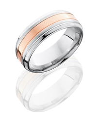Cobalt Chrome 8mm Beveled Band with 3mm 14KR