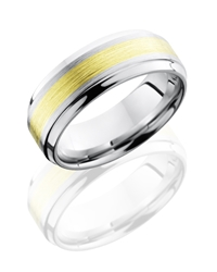 Cobalt Chrome 8mm Beveled Band with 3mm 18KG
