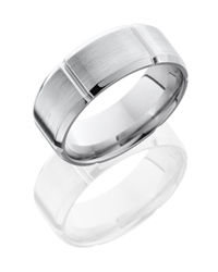 Cobalt Chrome 8mm Beveled Band with Segmented Pattern