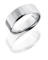 Cobalt Chrome 8mm Beveled Band with Facet Pattern