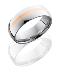 Cobalt Chrome 8mm Domed Band with 2mm 14KR