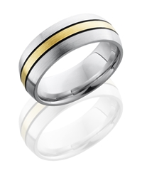 Cobalt Chrome 8mm Domed Band with 2mm 14KY