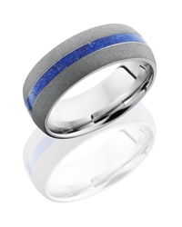 Cobalt Chrome 8mm Domed Band with 2mm Lapis Inlay