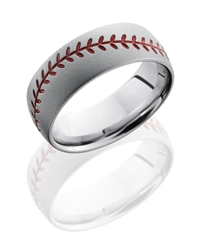 Cobalt Chrome 8mm Domed Band with Baseball Pattern