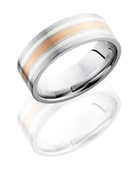 Cobalt Chrome 8mm Flat Band with 14K Rose Gold and Sterling Silver