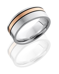 Cobalt Chrome 8mm Flat Band with 2mm 14KR