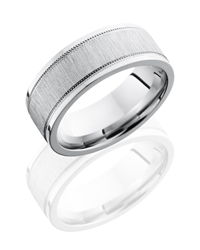 Cobalt Chrome 8mm Flat Band with Milgrain