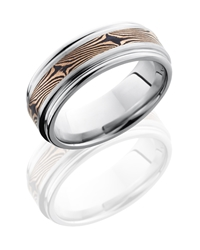 Cobalt Chrome 8mm Flat Band with Rounded Edges and 3mm Mokume