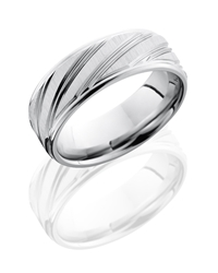 Cobalt Chrome 8mm Flat Band with Rounded Edges and Striped Pattern