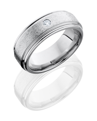 Cobalt Chrome 8mm Flat Band with Rounded Edges and Flush Set .07ct White Round Diamond