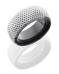 Zirconium 10mm Domed Band with Beveled Edges and Knurl Pattern