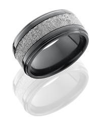 Zirconium 10mm Flat Band with Grooved Edges and 5mm Meteorite