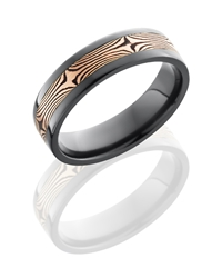 Zirconium 6mm Flat Band with 3mm 14KR and Shakudo Mokume
