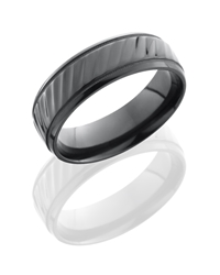 Zirconium 7mm Beveled Band with Milgrain and Striped Pattern