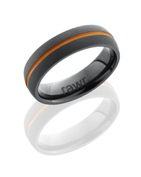 Zirconium 7mm Domed Band with 1mm Antiqued Groove