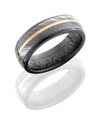 Zirconium 7mm Domed Band with 5mm Damascus and 1mm 14KR