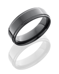 Zirconium 7mm Flat Band with Grooved Edges
