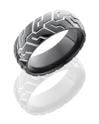 Zirconium 8mm Domed Band with Tire Tread Pattern